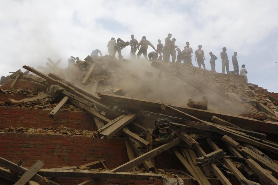 Volunteers remove debris